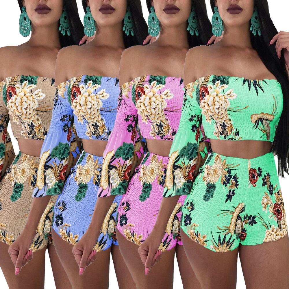 Womens Beach Shorts Crop Top