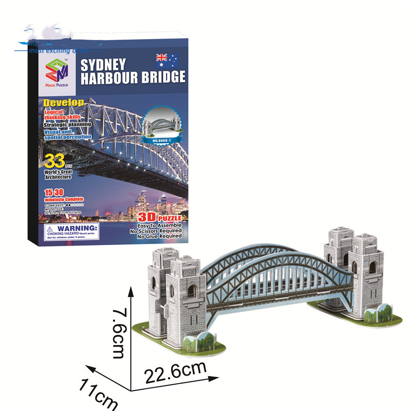 World Famous Building 3D Puzzle Educational Toy: Holland Windmill Sydney Harbour Bridge Leaning Tower of Pisa Empire State Building Eiffel Tower Sydney Opera  House The Whit House