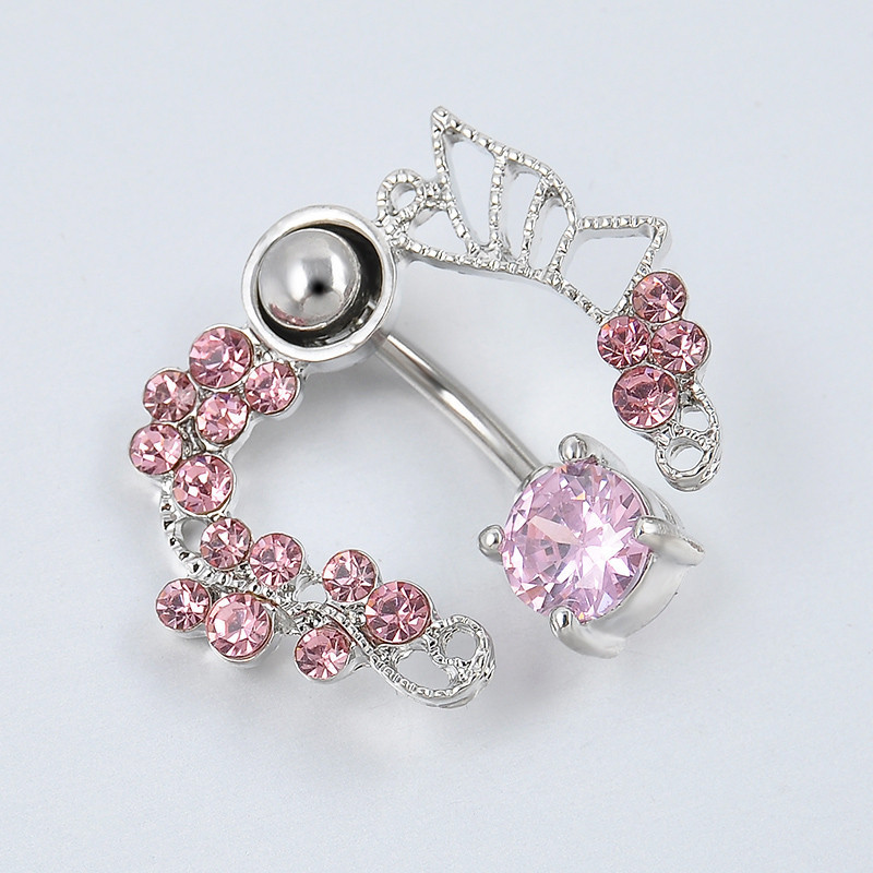 54d837fb-a89f-49eb-bb51-183256f6fe3b Exchuite Pink Butterfly Zircon Belly Button Ring