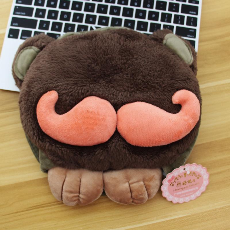 tapis de souris chauffant USB tête à moustache modèle marron foncé moustache orange