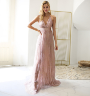 Ladies Fashion Pink Sling Long Dress