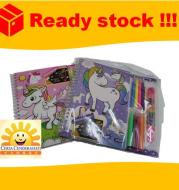 Children cartoon unicorn fun scratch  colorful scratch painting set