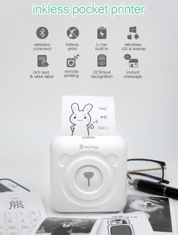 Mini Bluetooth Wireless Thermal Printer Paper Sticker Label Printer allinonehere.com