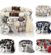 Fashion Multilayer Crystal Lava Stone Beads Wing Tassel Bracelets & Bangles Pulseras Mujer Jewelry For Women Gift