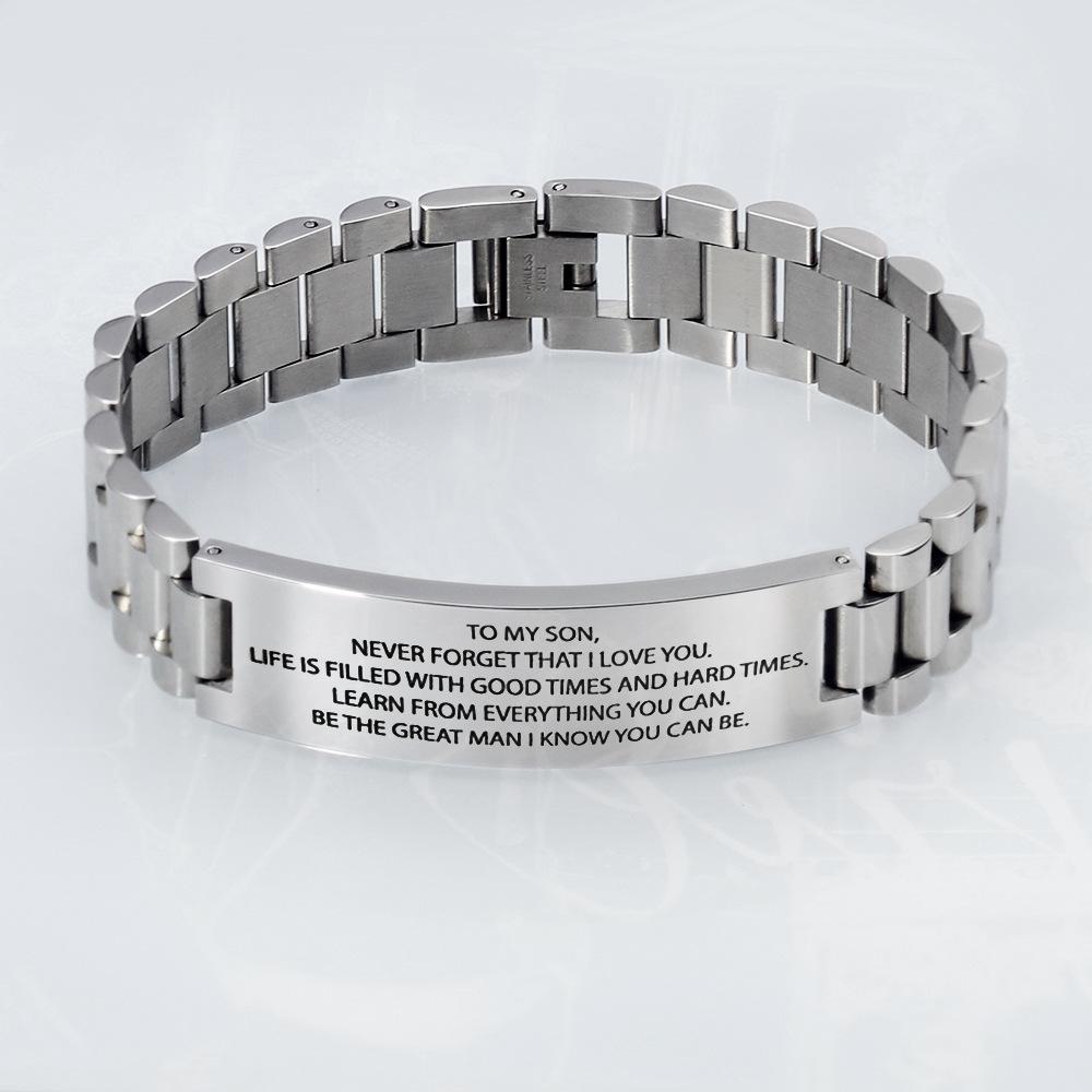 Edelstahl Herren-Armband mit Schrift | sportshop3000