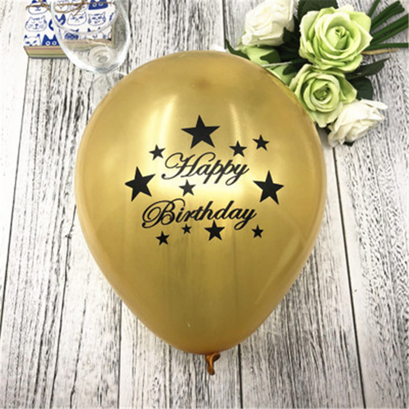 Happy Birthday Balloon Set Gold Sliver Black 10pcs