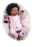 RSG 17 Inches 43cm Bebe Reborn Baby Dolls Black Realistic Newborn Soft Full Vinyl Silicone Body Surprice Gift Toy for Children