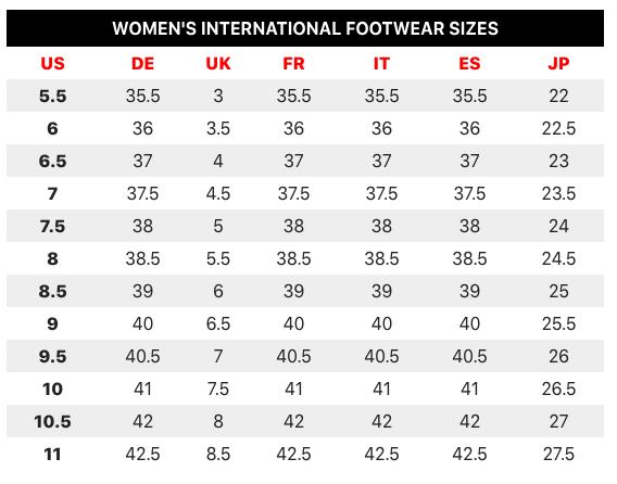 Comfortable Stylish Sneakers chart