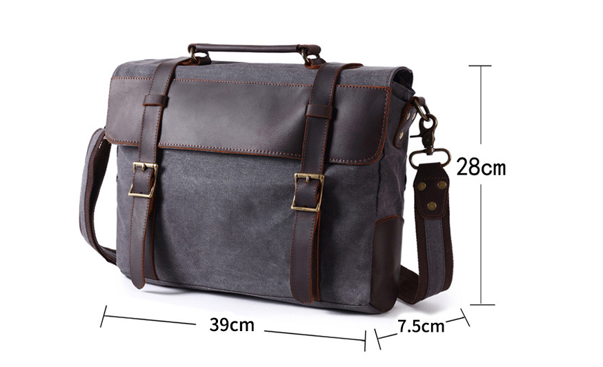 Crossbody Camera Bag Waxed Canvas Briefcase Magister by Gentcreate.com