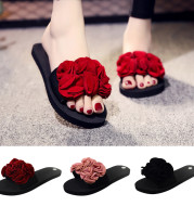 Shoes Woman Bohemian Flower Flat Slippers Summer Sandalias Non-slip Beach Shoes Home Slippers Women