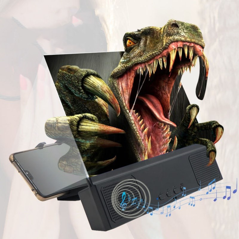 12inces 3D-Phone Screen Magnifier Movie Video Screen Amplifier With Bluetooth Speaker