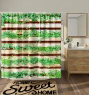 DESIHOM Green Plant Shower Curtain Rustic Wooden Shower Curtain Striped Botanical Leaf Shower Curtain Farmhouse Primitive Country Shower Curtain Summer Polyester Waterproof Shower Curtain 72x72 Inch