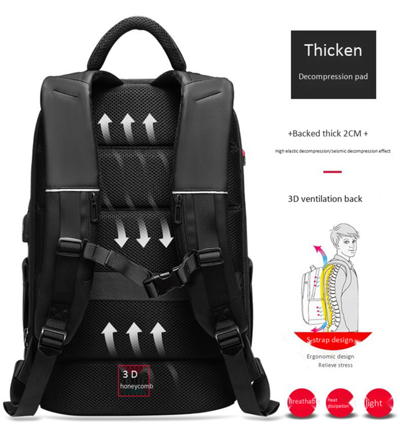 Waterproof Backpack with Multifunctional External USB Charge Port Laptop Bag allinonehere.com