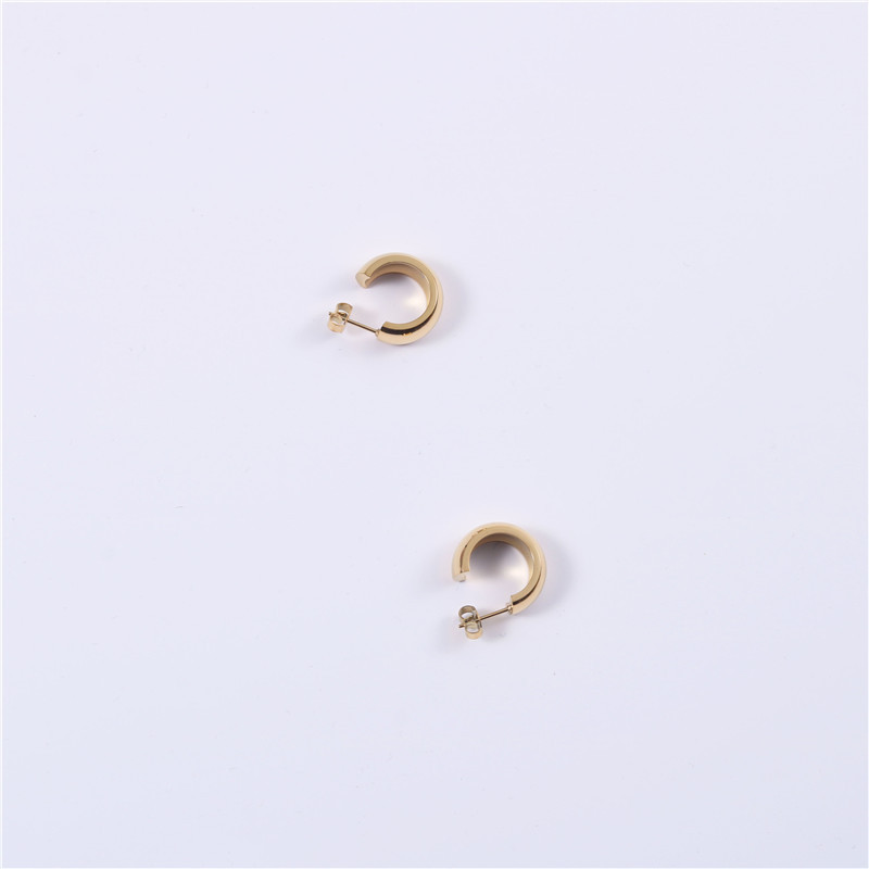 Stacked Exaggerated Minimalist Round Gold Hoop Earrings Titanium Steel Furnace Vacuum Plating Fine Jewelry For Women Girls