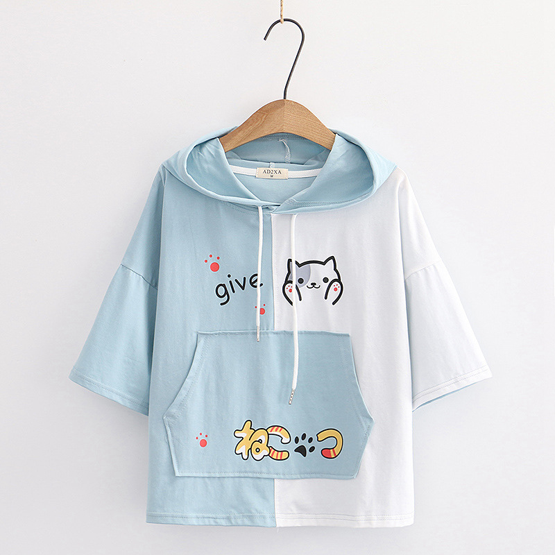Camiseta manga corta mujer con capucha diseño gato azul