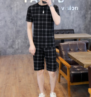 Casual Suit Short-sleeved T-shirt Male Boy Tide Brand Two-piece Shorts Shorts