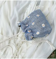 New Women Little Daisy Drawstring Crossbody Bag Female Summer Beach Straw Bag Bucket Bag