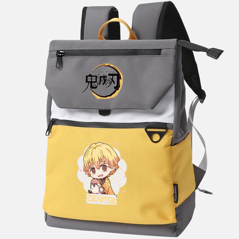 Foto lateral mochila Ghost Destruction Blade anime amarilla con imagen