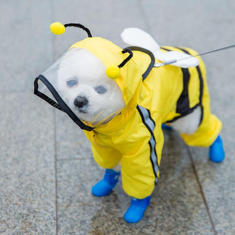 Dog Four-legged Bee Shaped Raincoat | Variety Size Raincoat for Dog with Harness