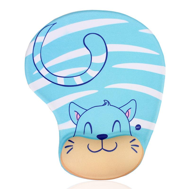 Tapis de souris enfant avec repose poignet chat bleu