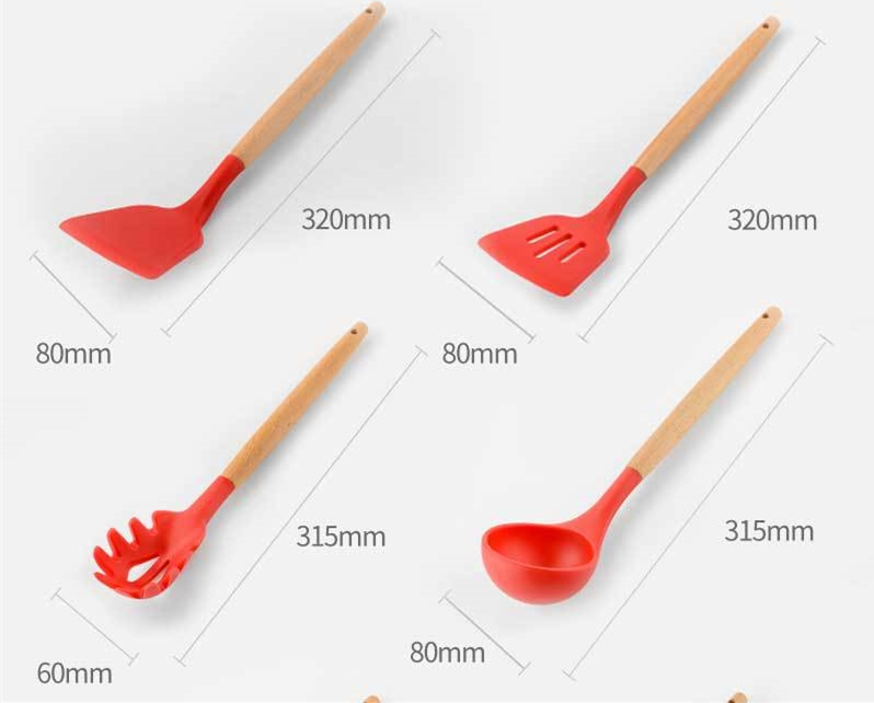 Silicone Kitchenware with Wooden Handle - Temp. To 230 C
