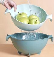 Baskom Cuci Buah Dan Sayuran Double Layer Plastik T1014