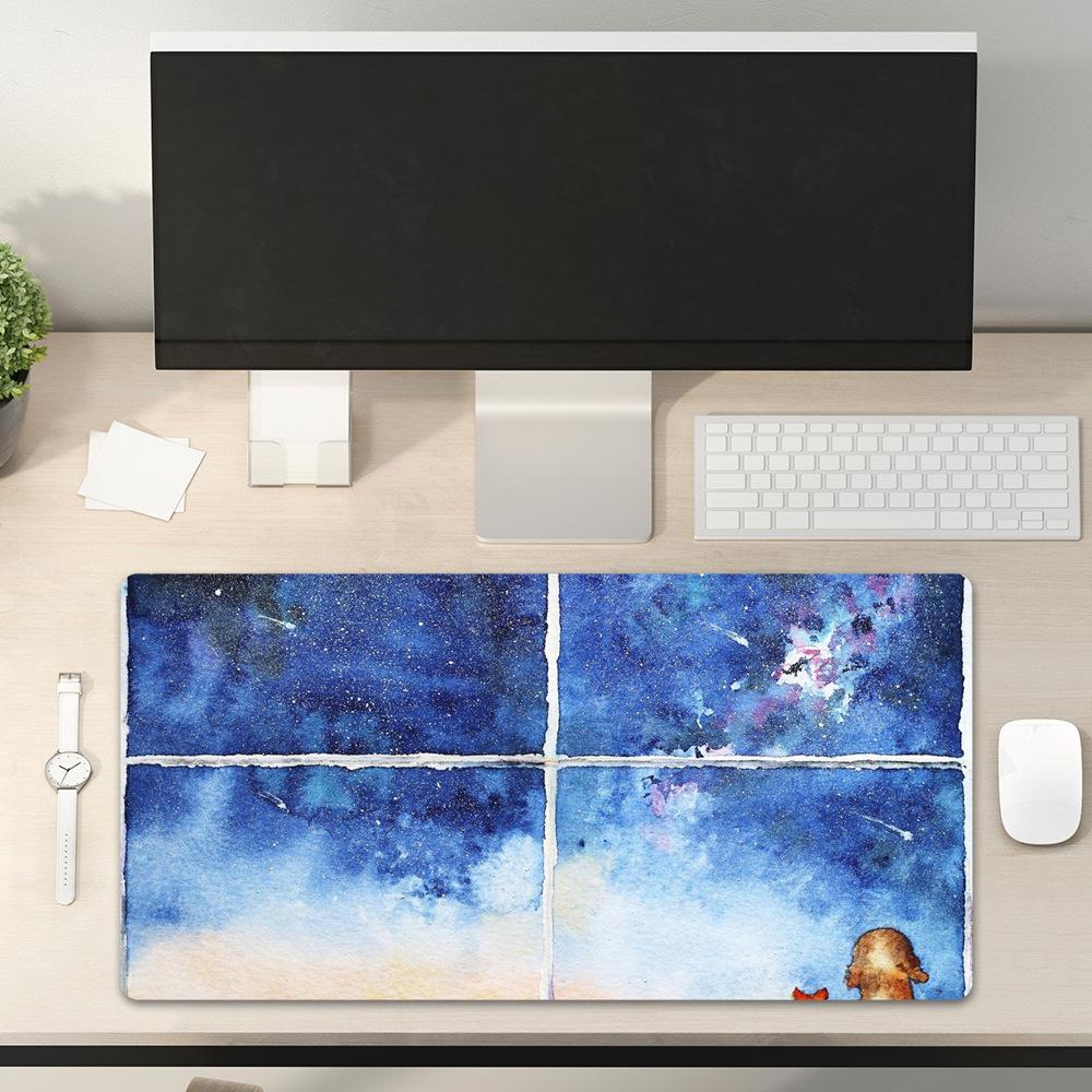 Tapis de souris XXL Aquarelle - Chiens admirant une nuit d'étoiles filantes vue espace de travail