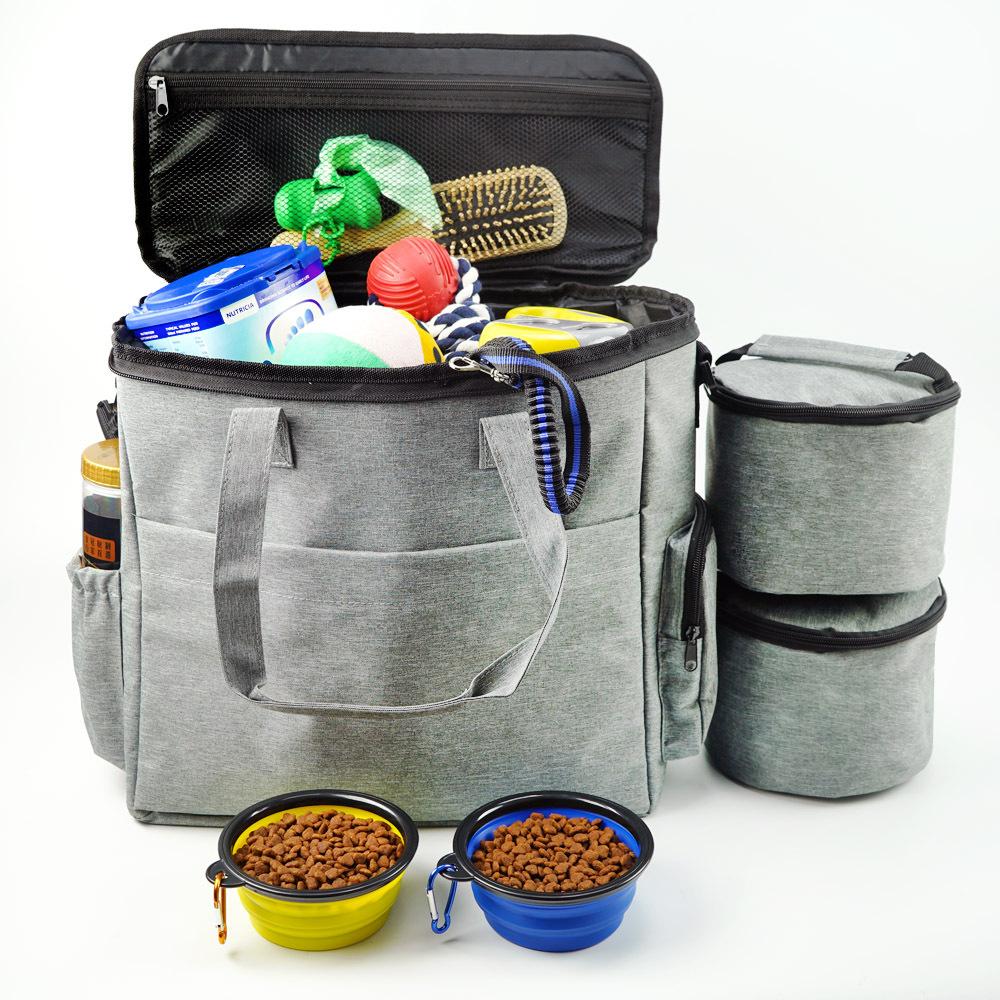 Dog Food Storage Bag   Dog Travel Bag With Food Bag and Bowl