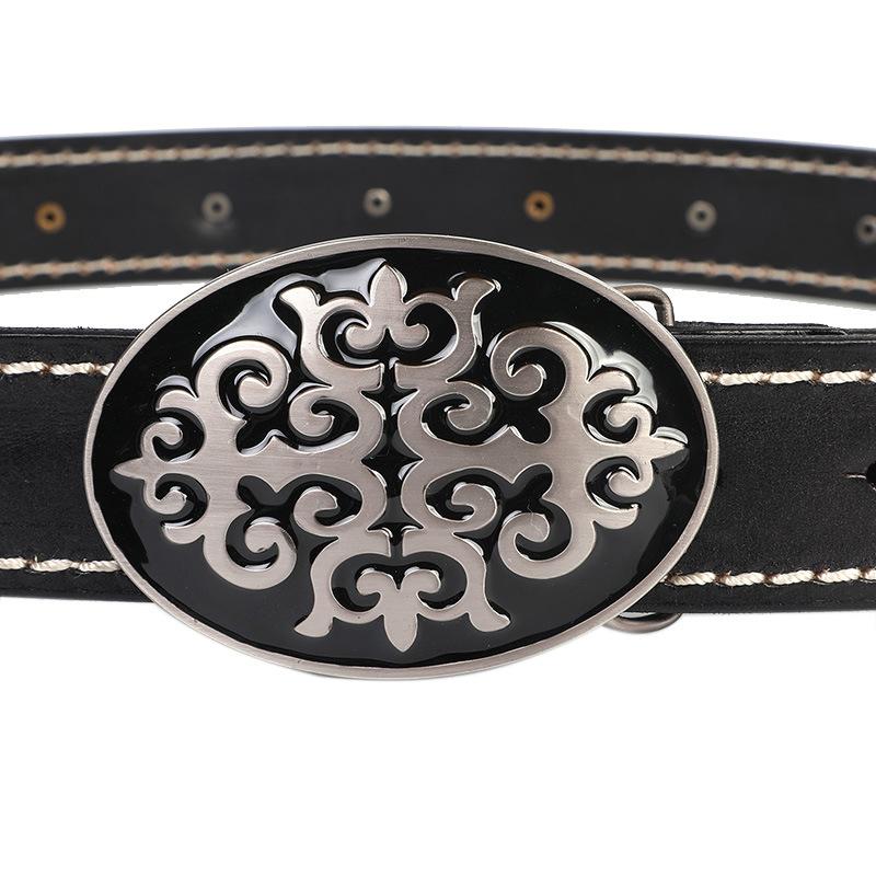 Mens Leather Aztec Belt Buckle