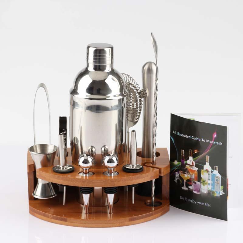 Bartender 12-piece Cocktail Family Bartending Tool Set With Semi-circular Bamboo Base 10