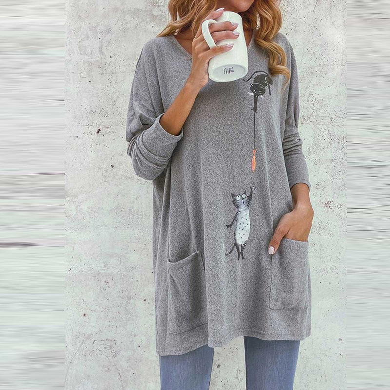 Cat Print Mid-length Loose Casual Bottoming Top
