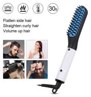 2 in1 Hair Straightener Brush Heating Beard Clip Comb Styler Electric Ionic Straightening Brush