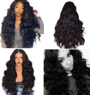 Black Synthetic Wigs Natural Looking Long Wavy Middle Side Parting No-Lace Women
