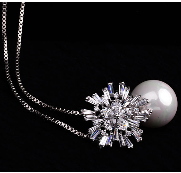 18K Gold Plated Silver Pearl Zircon Necklace The Most Unique Fashion Jewelry Synthetic Pearl Impeccable Quality Dainty, Flawless Long