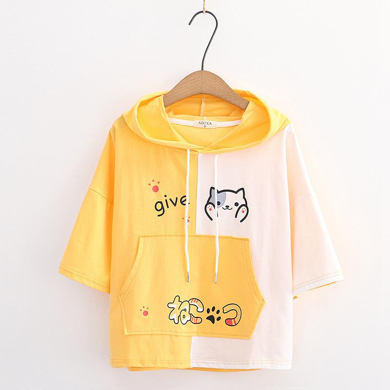 Camiseta manga corta mujer con capucha diseño gato amarilla