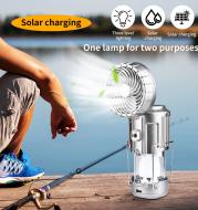 Solar Fan Light Rechargeable Emergency Tent Light Camping Light