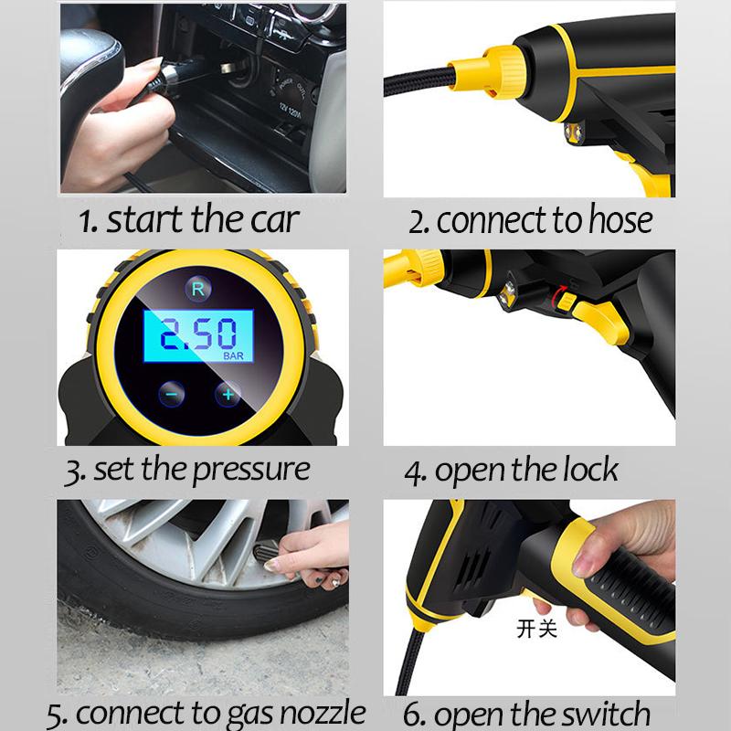 Automatic Portable Handheld Digital LED Smart Car Air Compressor Pump allinonehere.com