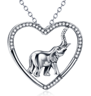 Sterling Silver Elephant Heart Necklace