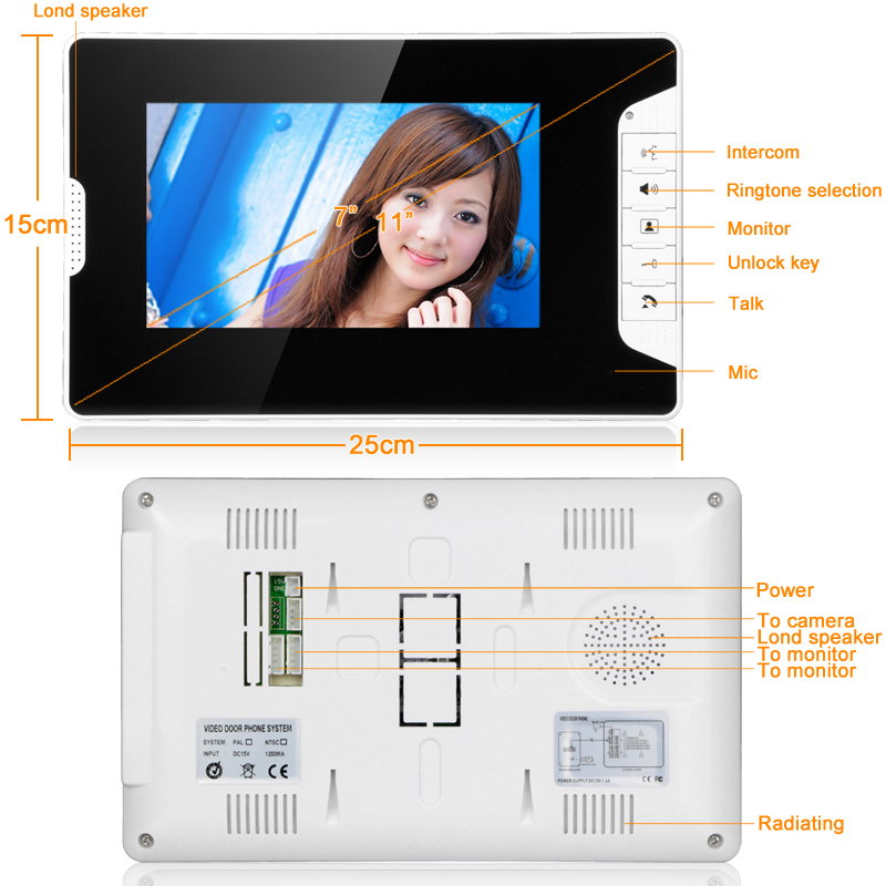 ENNIO SY813FA11 7-inch high-definition LCD night vision waterproof adjustable angle video doorbell