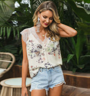 Sexy Print Lace Slim Simple Casual Sleeveless Short Top