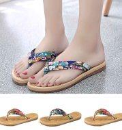 Summer Women Sweet Print Non Slip Flip Flops Sandals Flat Beach Slippers Shoes summer slippers women flip flops women beach