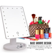Professional 22 LED Makeup Mirror Light Portable Rotation Vanity Lights Lamp Touch Bright Adjustable USB Or Battery Use (white)