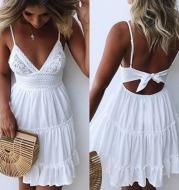 Summer Women Summer Dress Sexy Bow Backless V-neck Mini Beach Dresses Sleeveless Mini Ruffle White Summer Beach Dress
