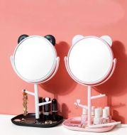 Cermin Kaca Rias Lipat Bulat Portable dengan penyimpanan kosmetik T5018