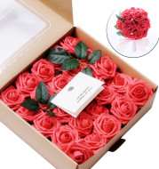 Artificial Flowers Coral Roses 50pcs Real Looking Fake Roses For DIY Wedding Bouquets Centerpieces