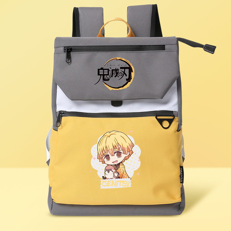 Foto Frontal mochila Ghost Destruction Blade anime amarilla