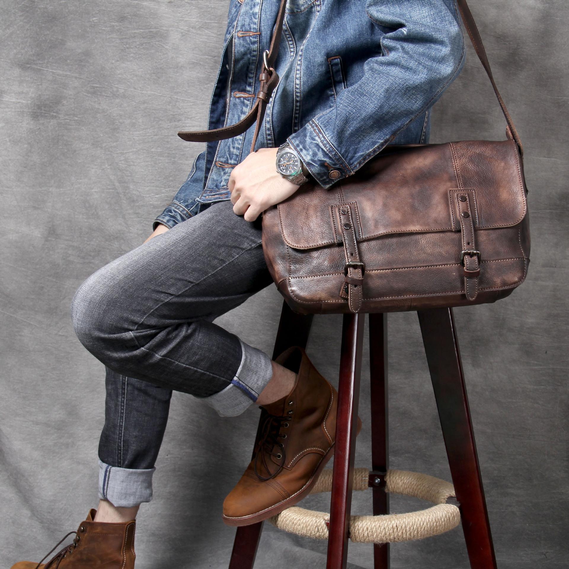 "Brown Leather Messenger Bag ""Dux"" Men's Vintage Briefcase"