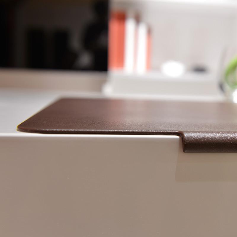 Grand tapis de souris avec rebord de fixation simili cuir marron zoom