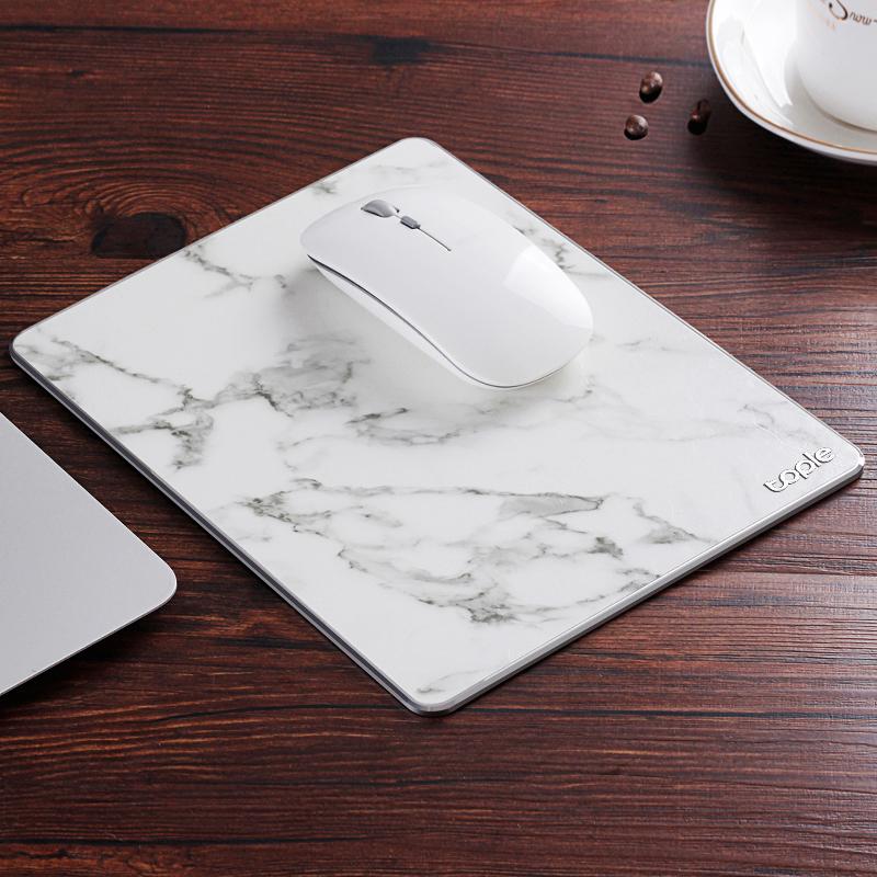 Tapis de souris double matière aluminium et cuir couleur cuir blanc
