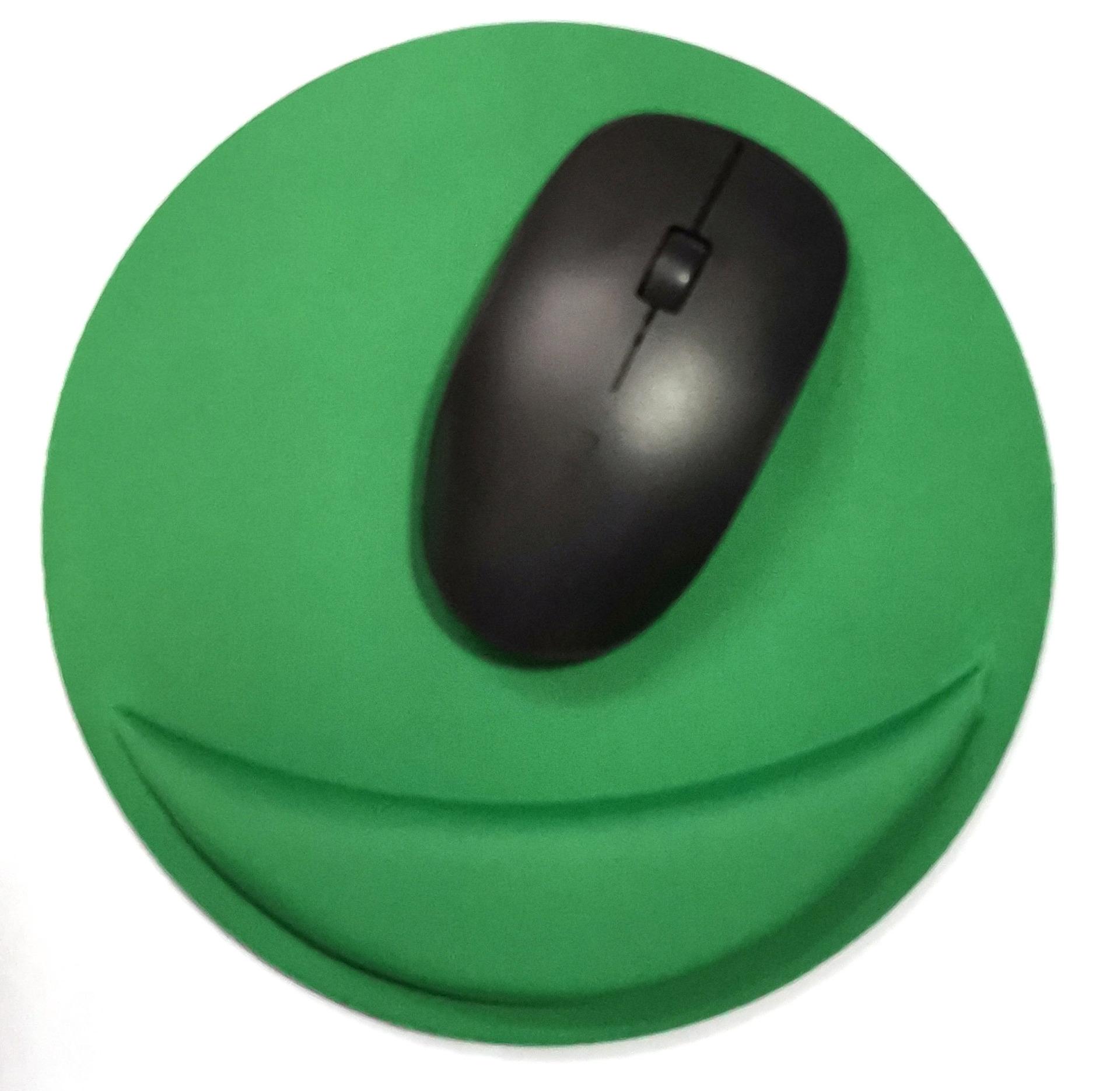support de souris rond de couleur verte